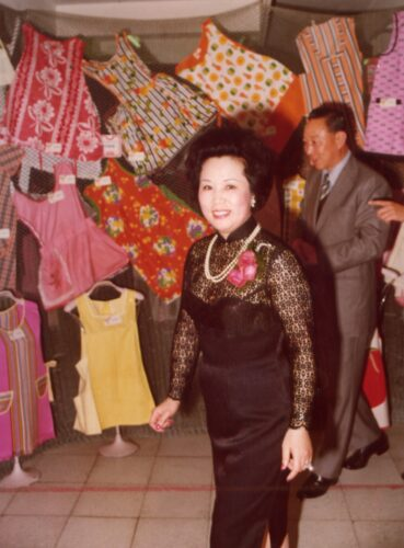Fu Pei-mei at an exhibition of her apron collection in 1977
