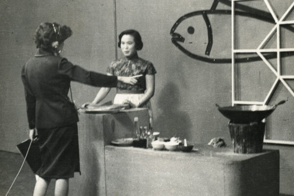 Fu Pei-mei stands on set of a cooking show in 1963