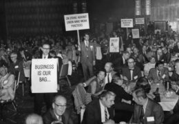 Mock protest by business leaders at a U.S. Chamber of Commerce Luncheon in 1971.