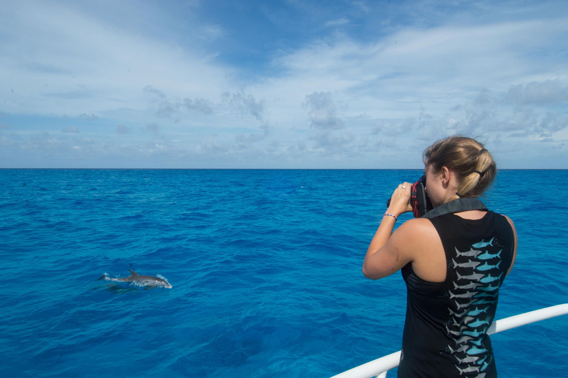 a girl stands on the edge of the boat and takes a picture of an Atlantic spotted dolphin