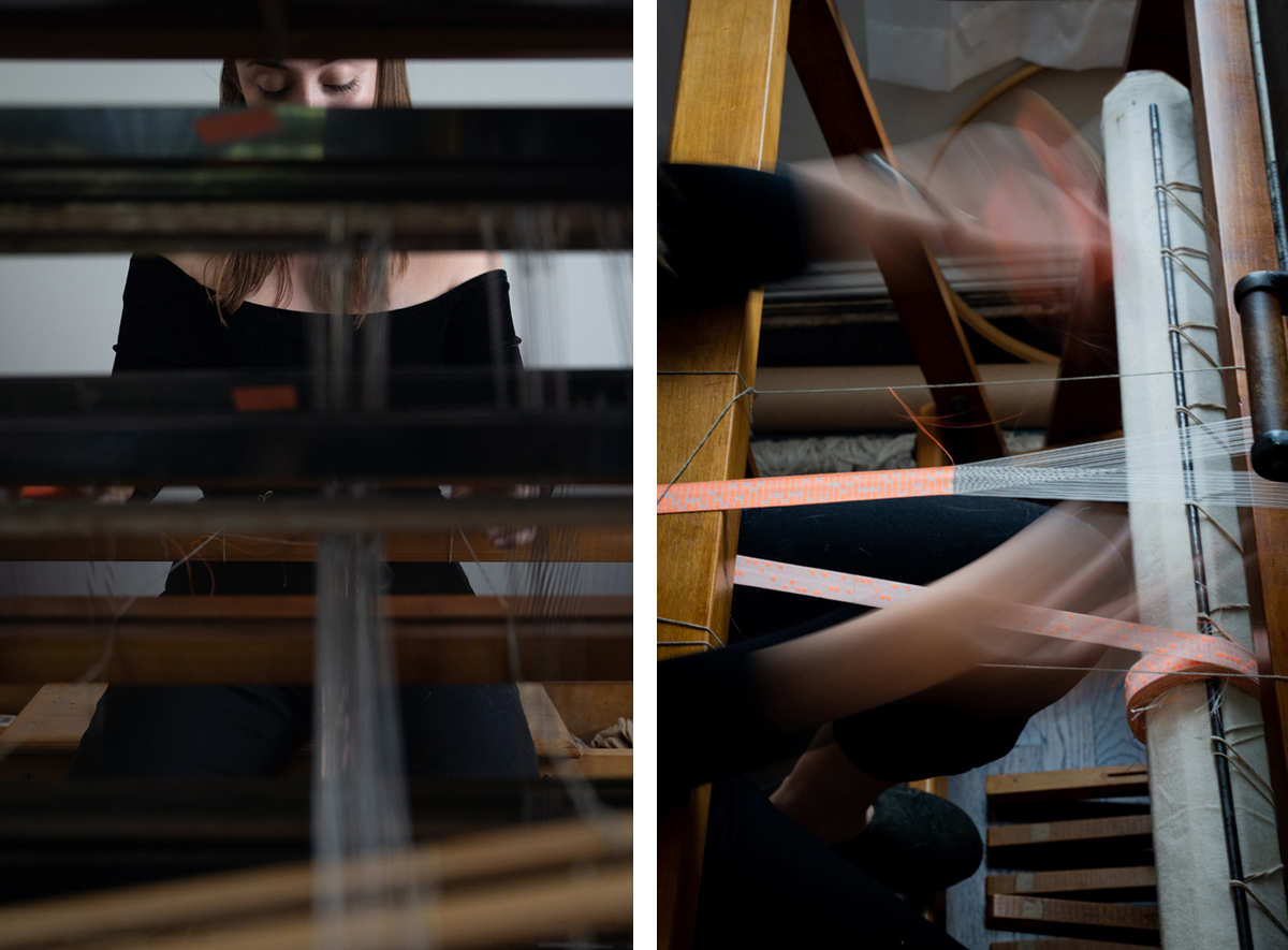 Two photos: On the left, a photo of the young woman seemingly taken from within the loom. On the right, a pair of hands are motion-blurred as they move rapidly over the fabric emerging from the loom.