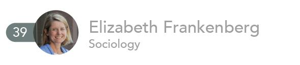 39. Elizabeth Frankenberg, Sociology.