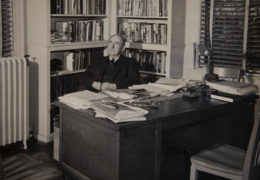 Howard Odum sits in his office in the UNC Alumni Building