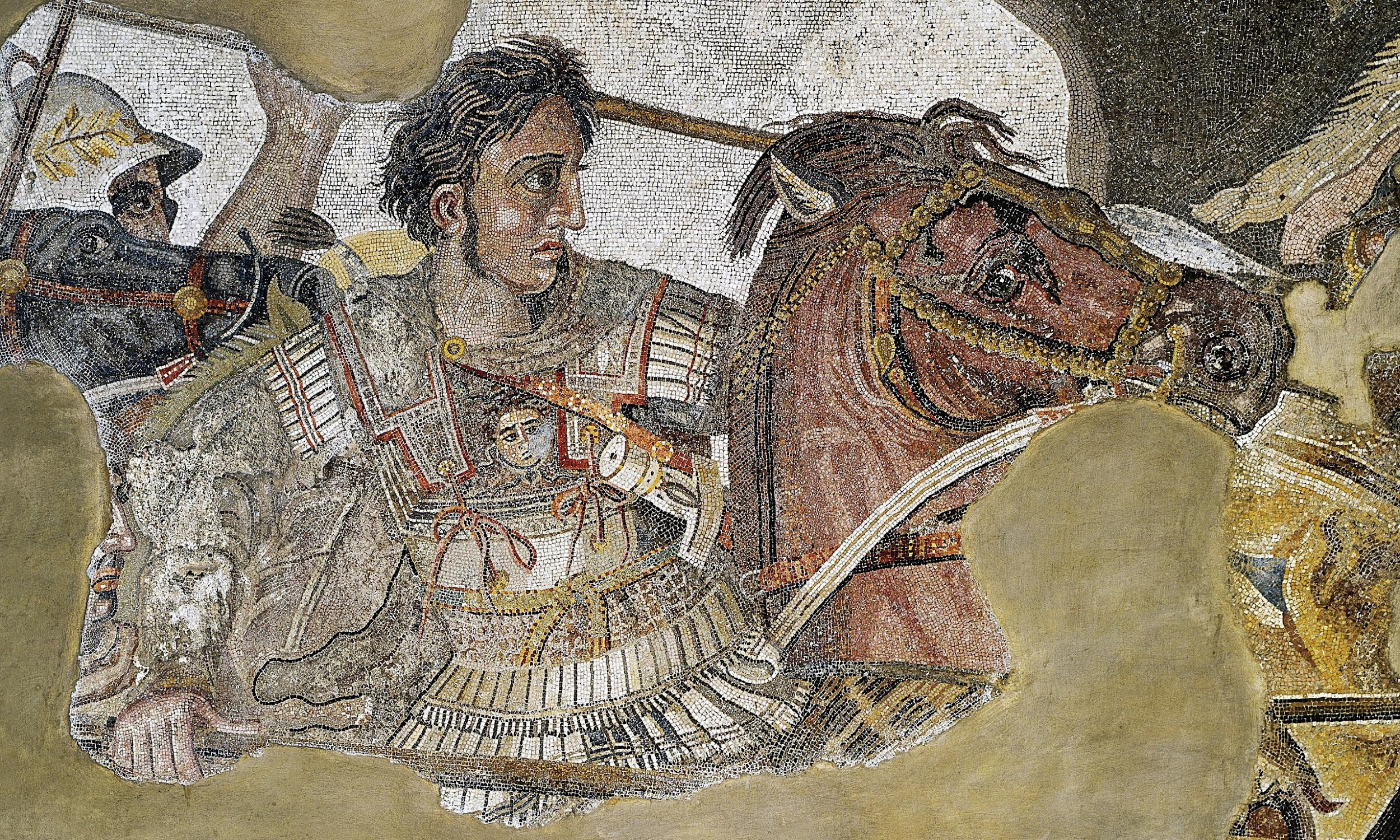 a mosaic of Alexander the Great on his horse in a battle against Persia