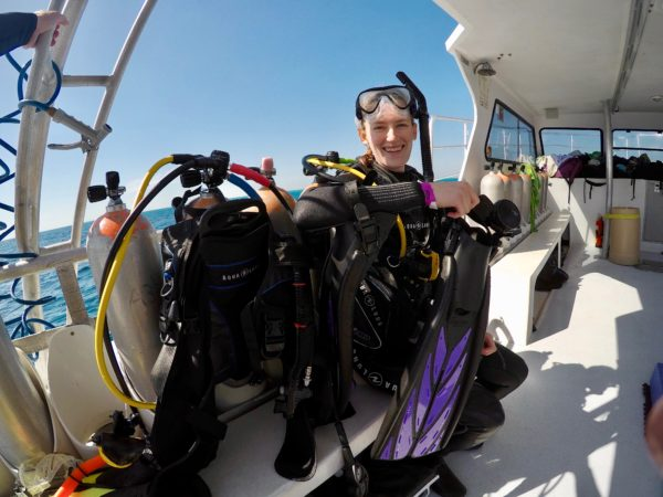 Duprey gets ready to scuba dive in Key Largo, Florida.