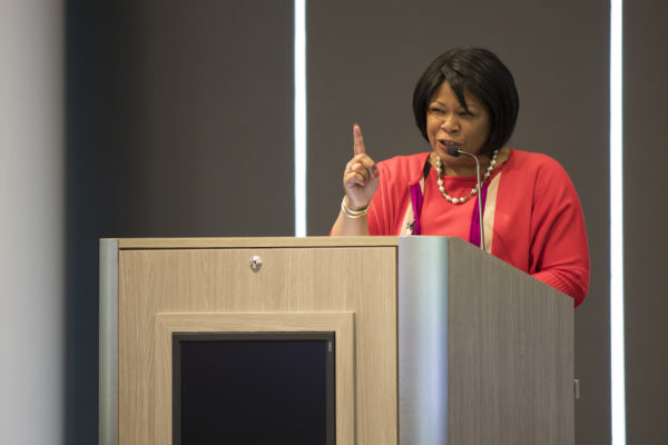 Anita Brown-Graham speaks at a podium