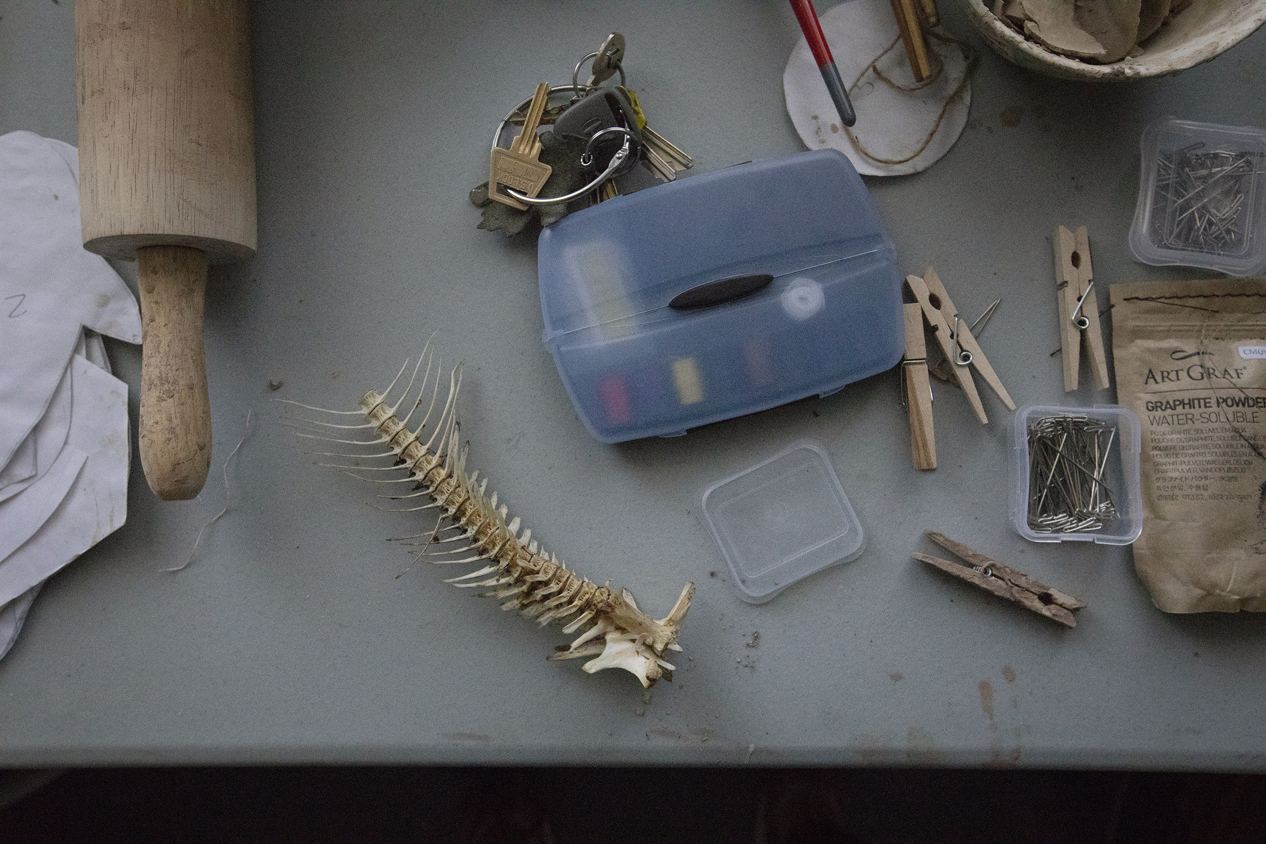 Overhead shot looking down on Ayla Gizlice's work desk, showing a fish spine, car keys, and tools like safety pins, and paint brushes.
