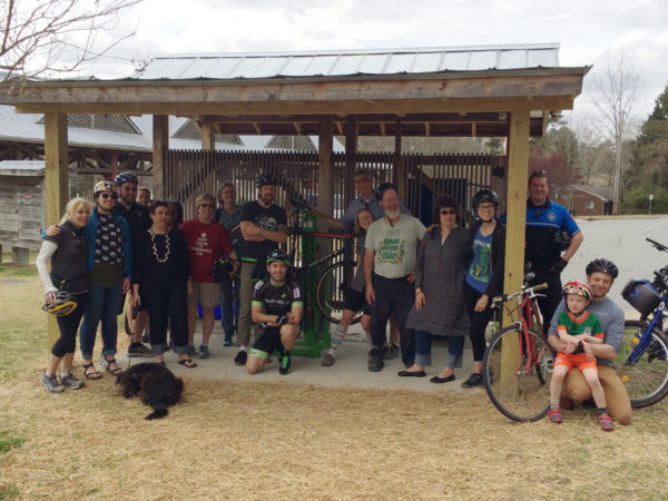 De Marco is a board member with the Carrboro Bicycle Coalition, pictured here along with Triangle Velo, The Carrboro Board of Alderpersons, and Carrboro Town staff.