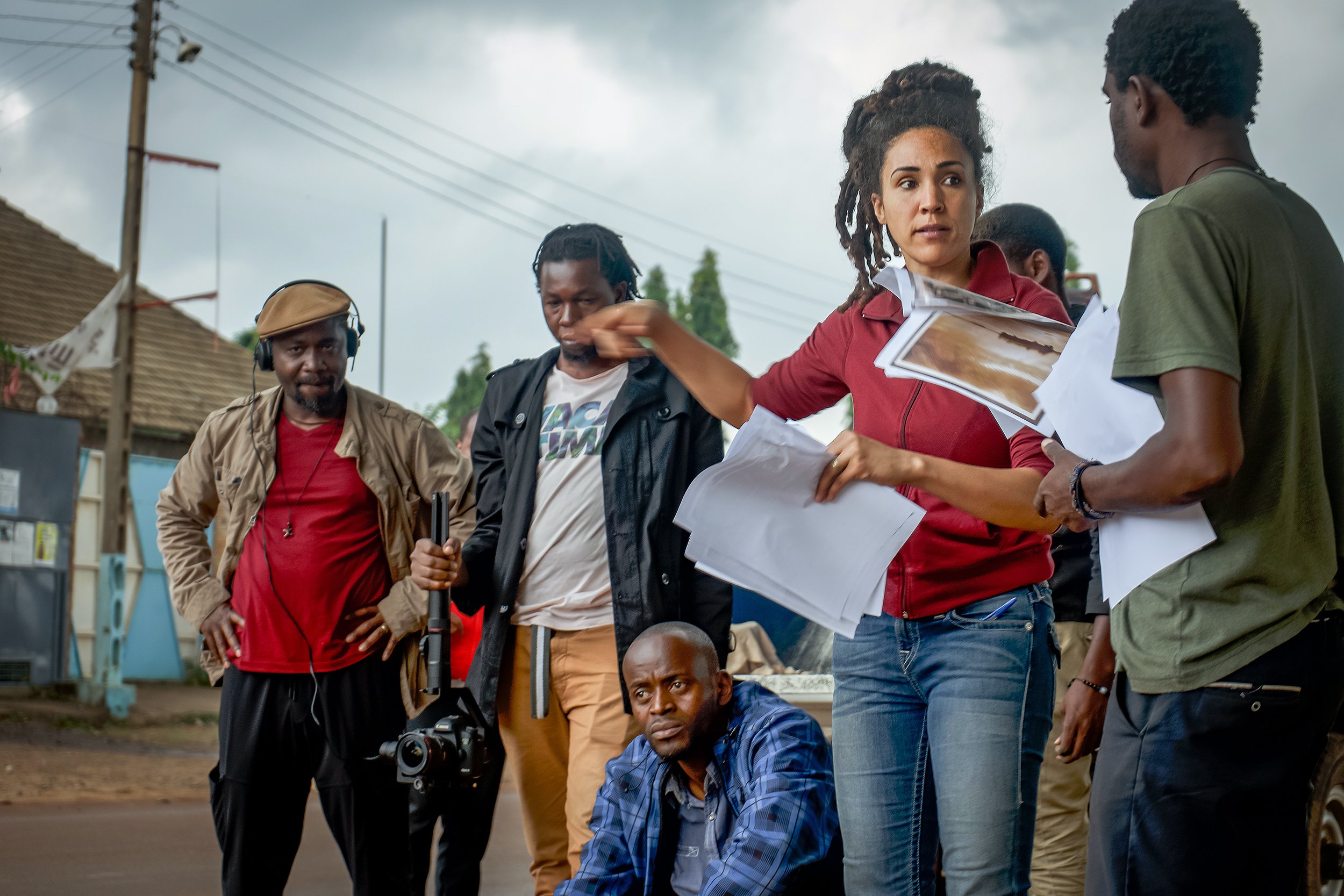 Cherie Rivers Ndaliko gives instructions to the cast of the film Matata