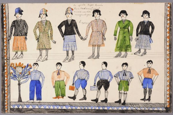 Watercolor illustration showing European fashion in the 1930s for men and women.
