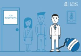 "Illustration of people lined up outside an office for interviews. Main character has a metaphorical ball-and-chain attached to their leg, labeled ""criminal record"""