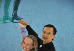 Photos courtesy of Cynthia Bulik Cynthia Bulik and David Tsai celebrate their bronze medal win in ice dance at the 2012 U.S. Adult Figure Skating Championships.
