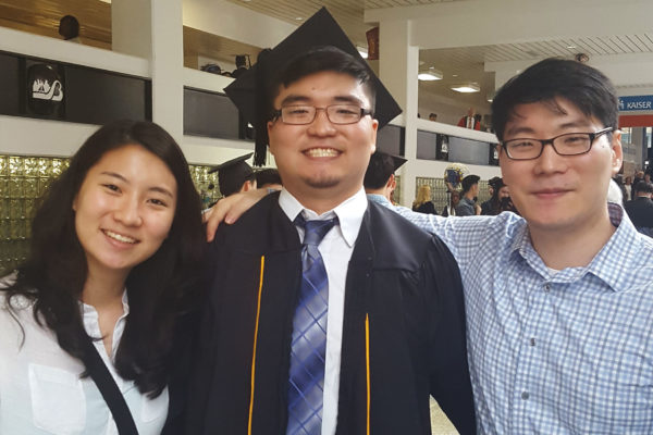 Esther Kwon with her two brothers