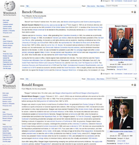 Wikipedia pages for Barack Obama and Ronald Reagan