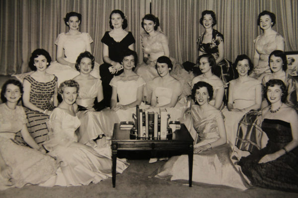 Group photo from a special dinner of 16 of the 17 graduating nurses from the first class in 1955