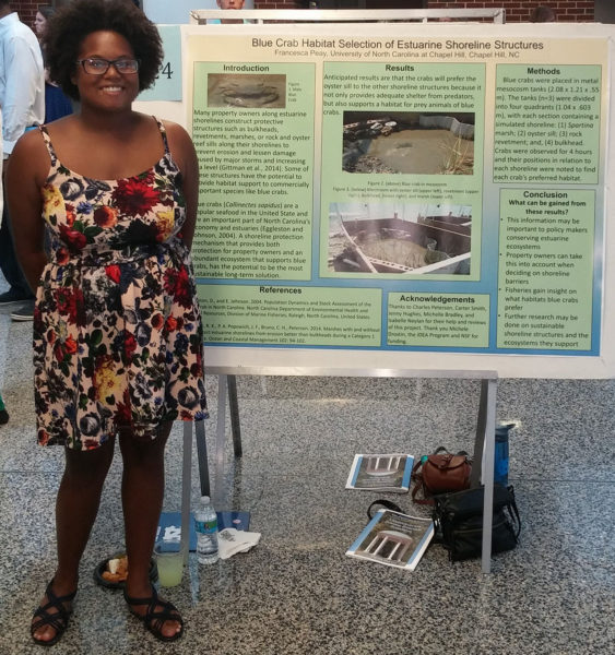"Photo courtesy of Francesca PeayFrancesca Peay presents her research on ""Blue Crab Habitat Selection of Estuarine Shoreline Structures"" at the 2015 Celebration of Undergraduate Research."