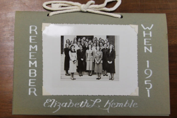 "Picture of the program from the first class's senior-faculty breakfast. With a picture of the graduating nursing class on the front, to the left of it it reads ""Remember"" to the right, ""When 1951"" and at the bottom is ""Elizabeth L. Kemble"""