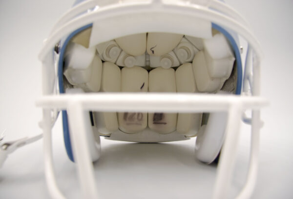 inside of a UNC football helmet with accelerometers in it