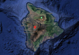 a Google Maps satellite view of Hawaii Island