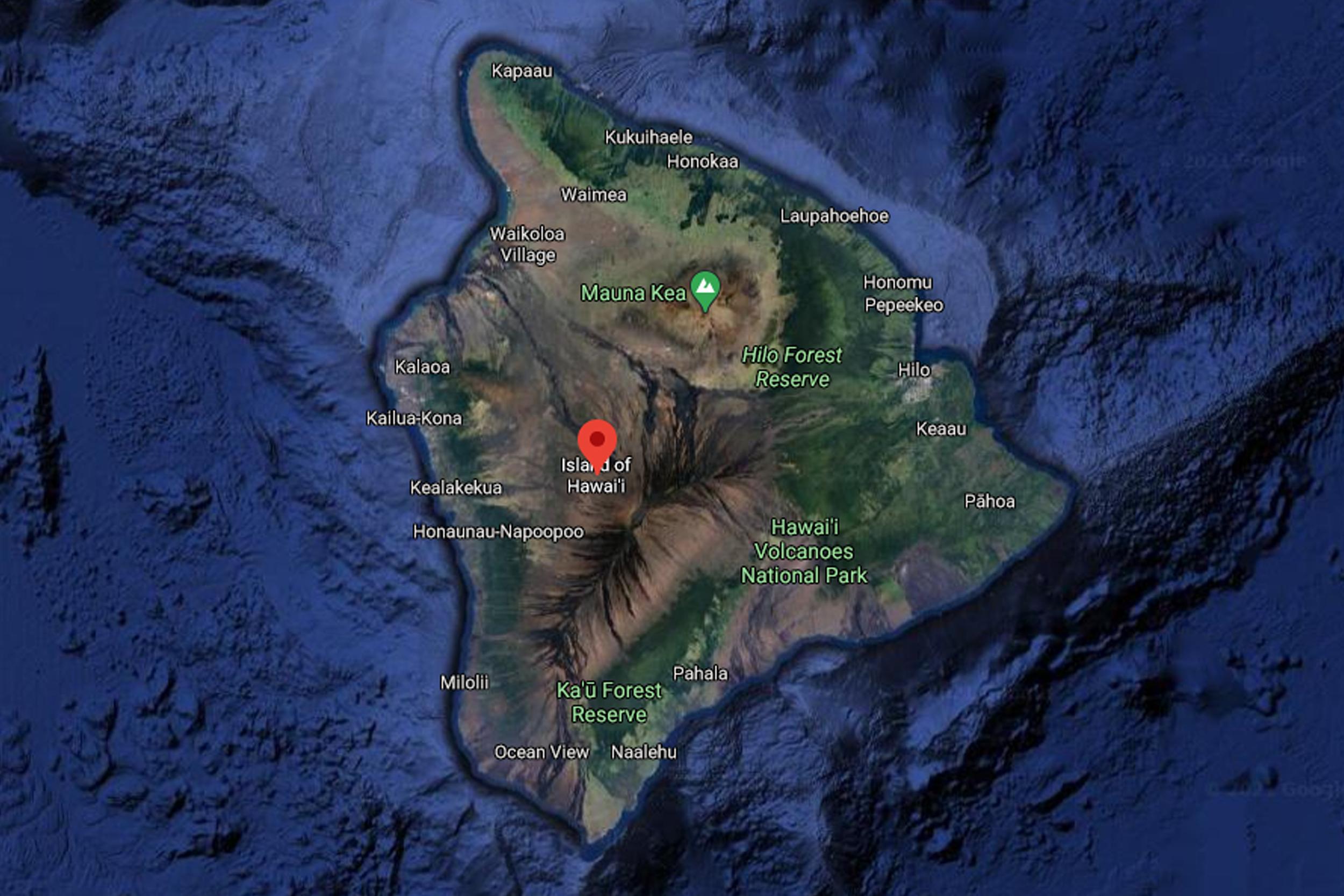a Google Maps satellite view of Hawaii Island
