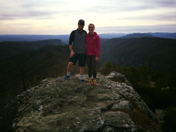 Harkey and her husband Matt love to hike. Here they are at the summit of Hawksbill Mountain in Asheville.