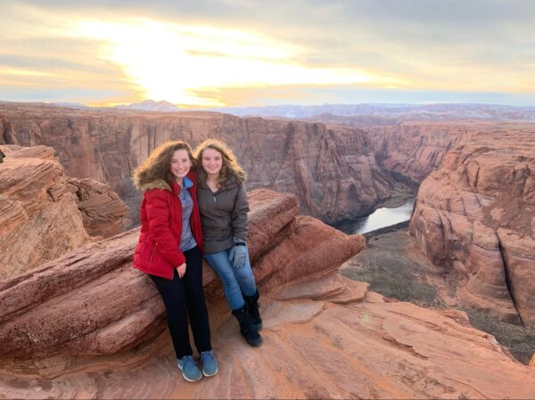 Kay Youngstrom and her sister at Horsehoe Bend in Arizona