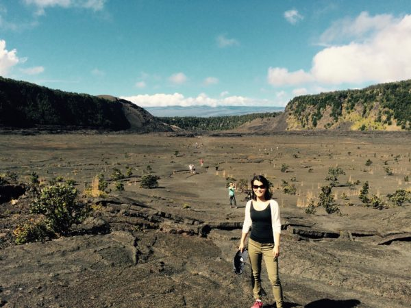 Li poses in Hawai'i Volcanoes National Park.