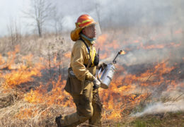 Johnny Randall lights fires during a controlled burn at the Mason Farm Biological Reserve.