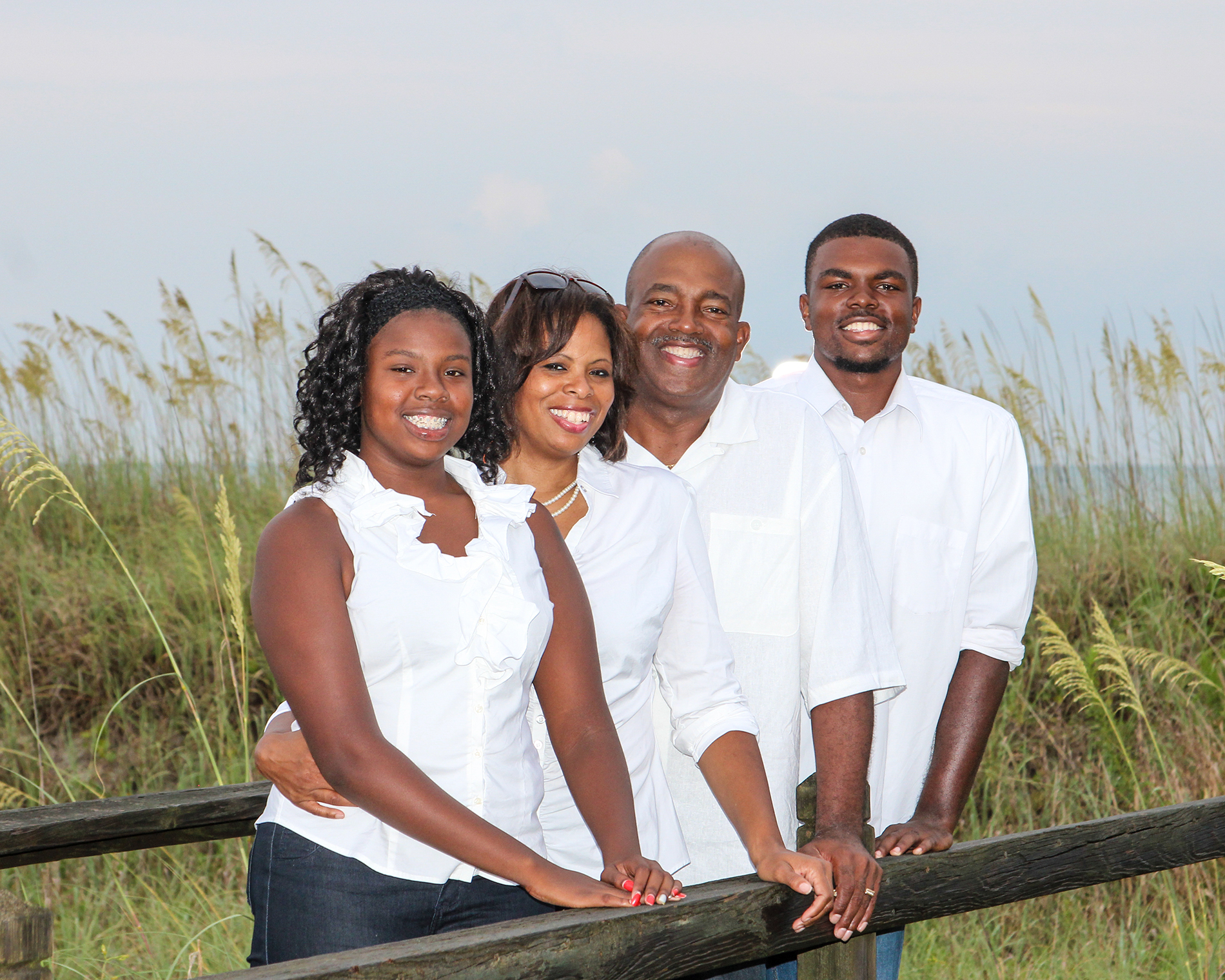 Coyne-Beasley (second from right) with her daughter Kayla, husband Darryl, and son Keith at North Myrtle Beach.