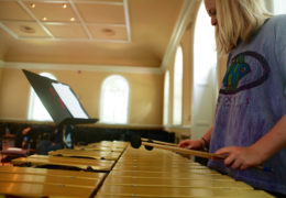 a young girl plays a xylophone