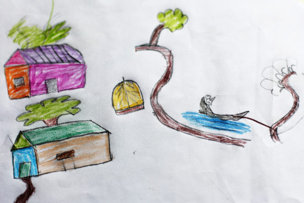 A child's illustration, showing two homes and boat in the water tied to a tree.