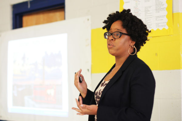 Danielle Spurlock speaks at a neighborhood town hall meeting in east Durham on February 25, 2017.