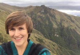 Jenny Hughes takes a selfie atop Mt. Pichincha in Quito, Ecuador.