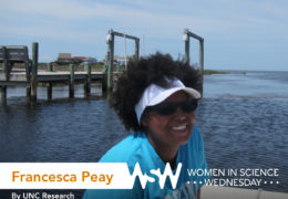 Photo of Francesca Peay on a boat off the coast of North Carolina.