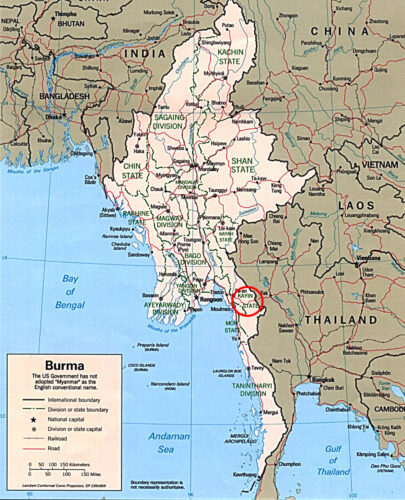 a map of Myanmar and the Kayin State