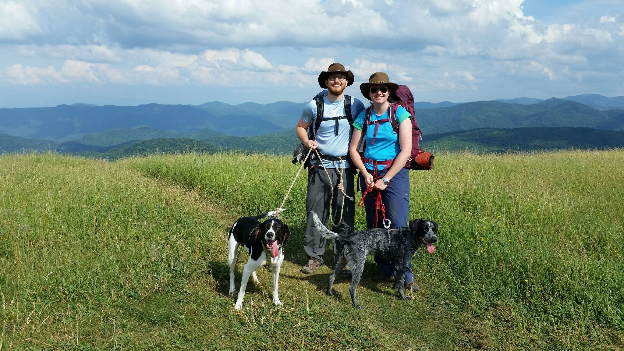 Gootman, her husband Ben, and their two dogs — Josey and Blue — at the top of Max Patch on the North Carolina section of the Appalachian Trail.