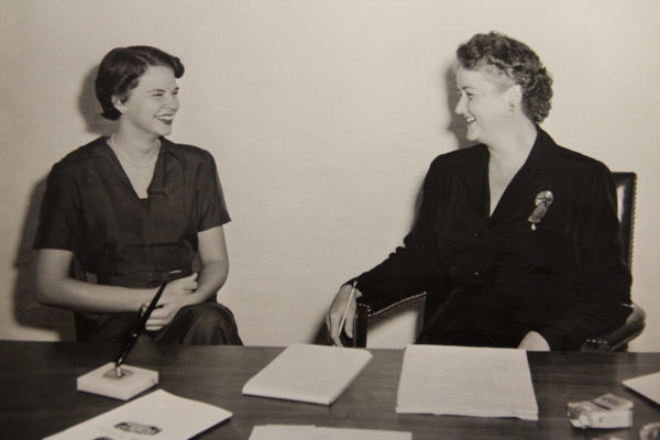 Dean Kemble meets with the first applicant of the UNC School of Nursing in the spring of 1951.