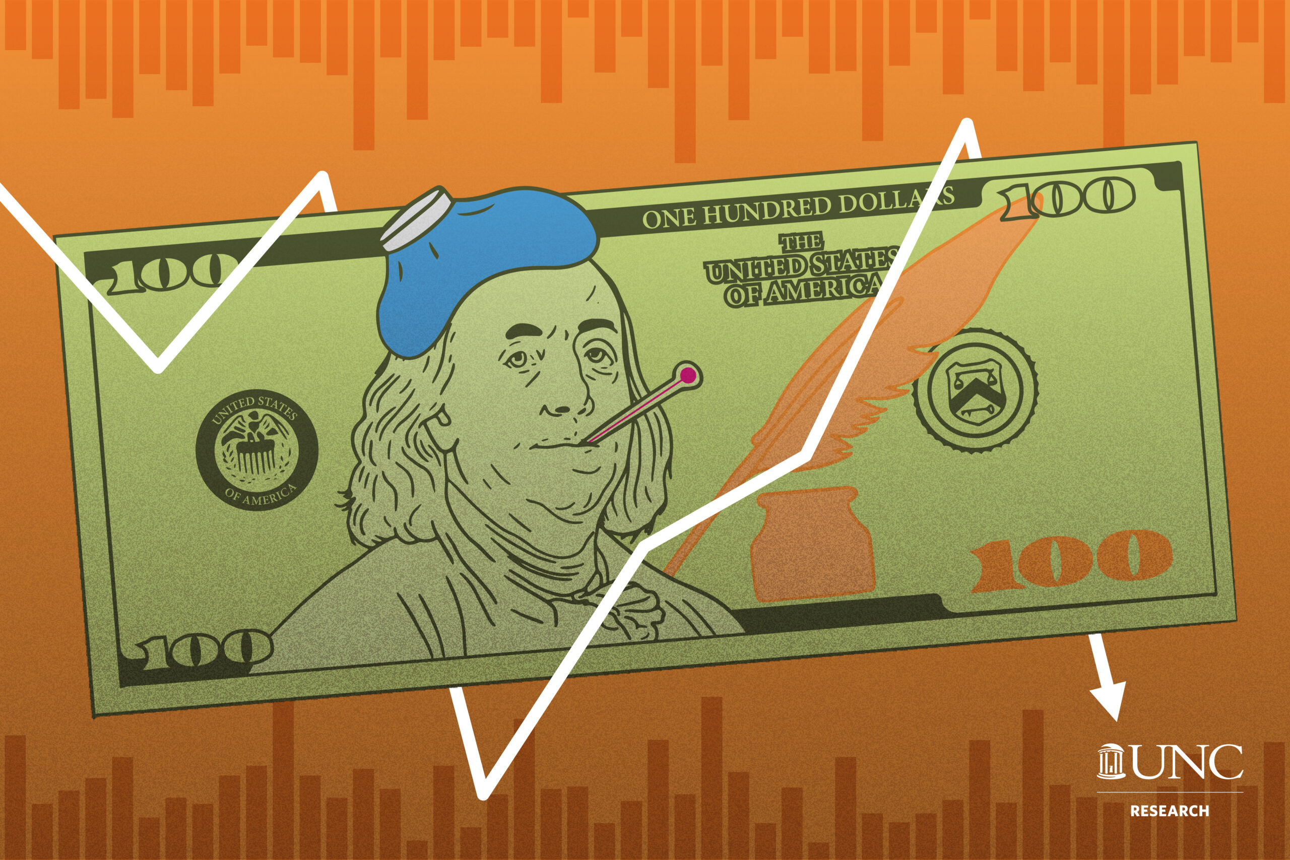 a graphic of a $100 where Ben Franklin has a thermometer in his mouth and an ice pack on his head