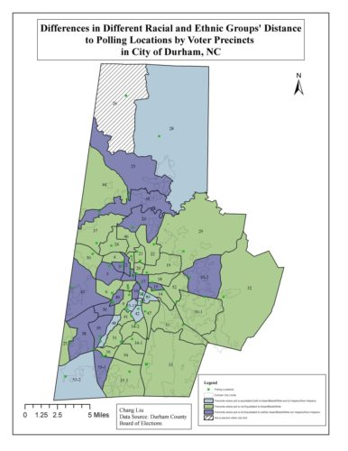 "a map of ""differences in differen racial and ethnic groups' distance to polling locatiosn by voter precincts in city of durham, nc"""