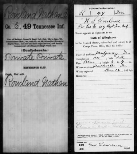 Detail photo of Rowland's enlistment record and Oath of Allegiance to the United States.