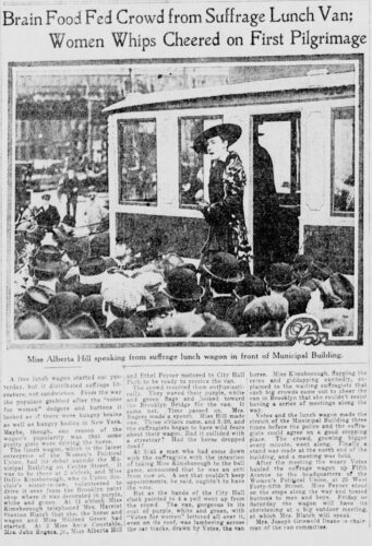 """a 1915 newspaper clipping of a story called """"Brain Food Fed Crowd from Suffrage Lunch Van; Women Whips Cheered on First Pilgrimage"""""""