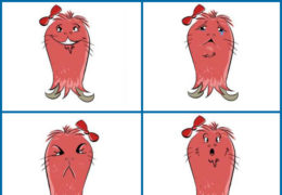 Palooza is a pink, furry alien with a bow on top of their head. Image depicts Palooza showing for human expressions