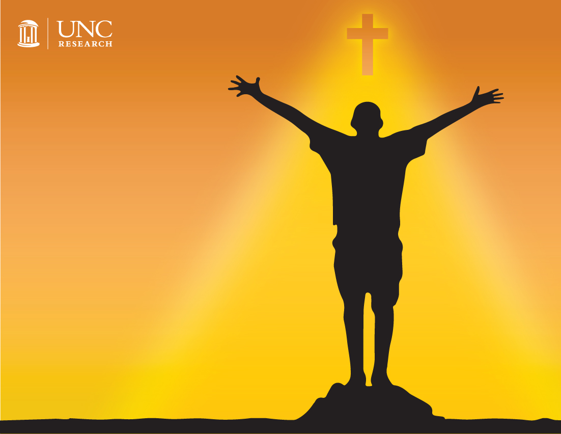 silhouette of someone with their hands outstretched to a glowing cross