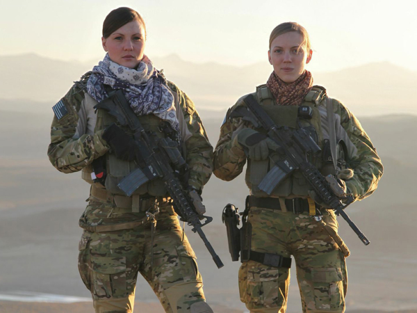 Cleveland (right) with her teammate Staff Sgt. Kat Kaelin while deployed to Afghanistan.