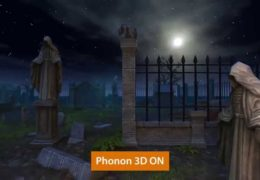 Screen shot from the video, showing an animation of a cemetery with statues and iron gate fence