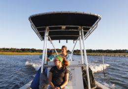 three women on a boat