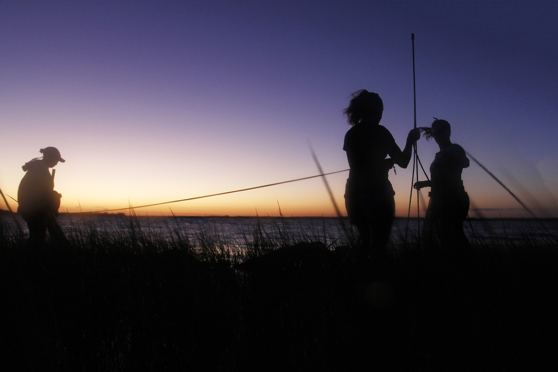 three women set up nets at twilight
