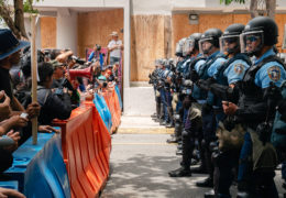 protesters standoff against police in Puerto Rico