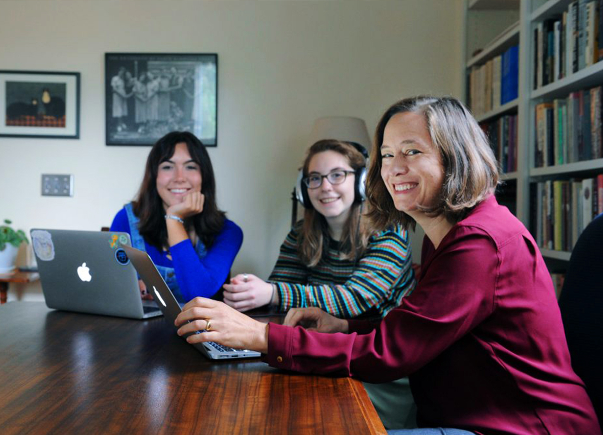 From left: Undergraduate students Syndey Lopez and Liv Lin and SOHP Director Rachel Seidman