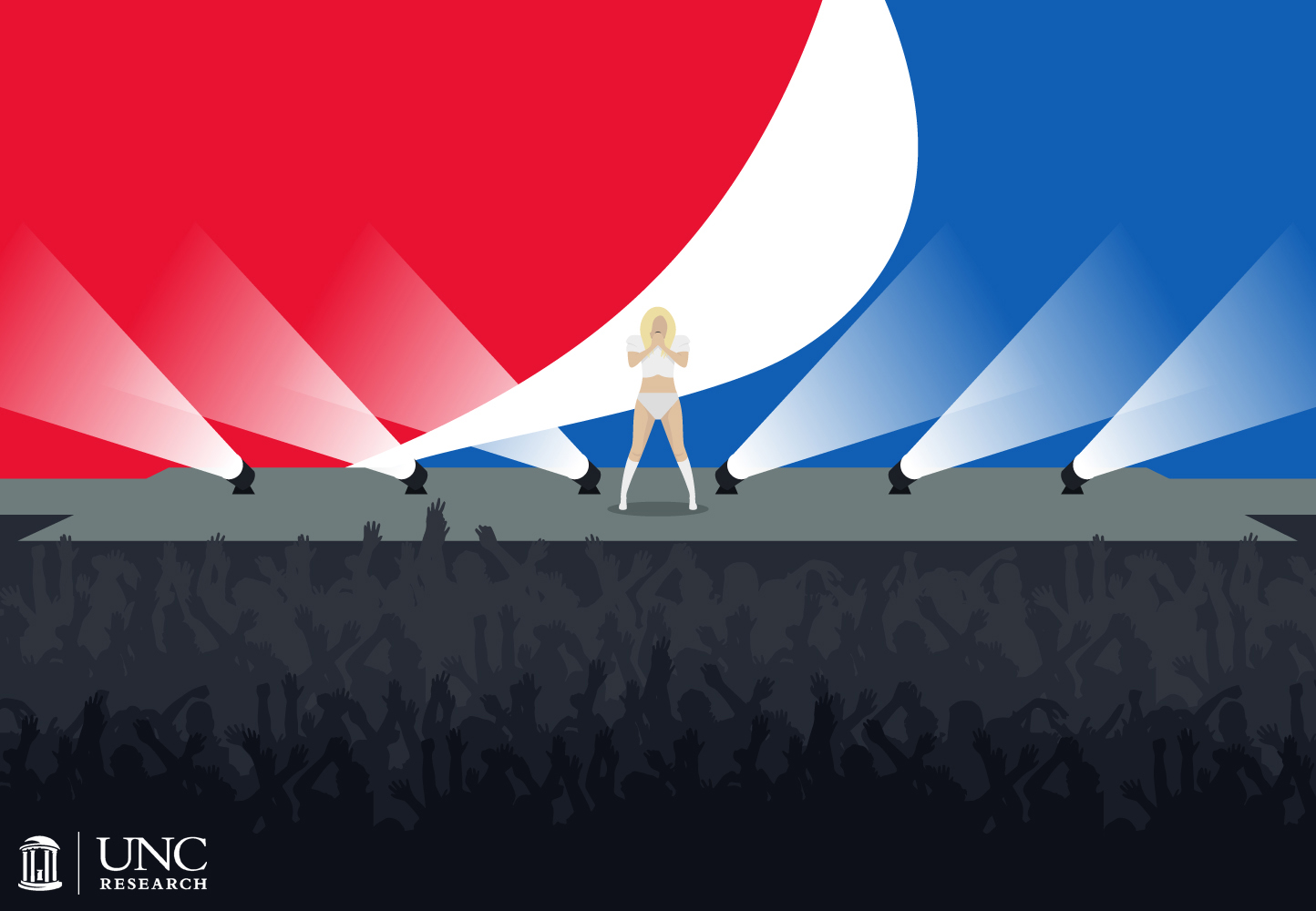 Illustration of Lady Gaga on a stage with an audience and large pepsi logo behind her